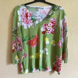Green and Pink Floral V Neck Top